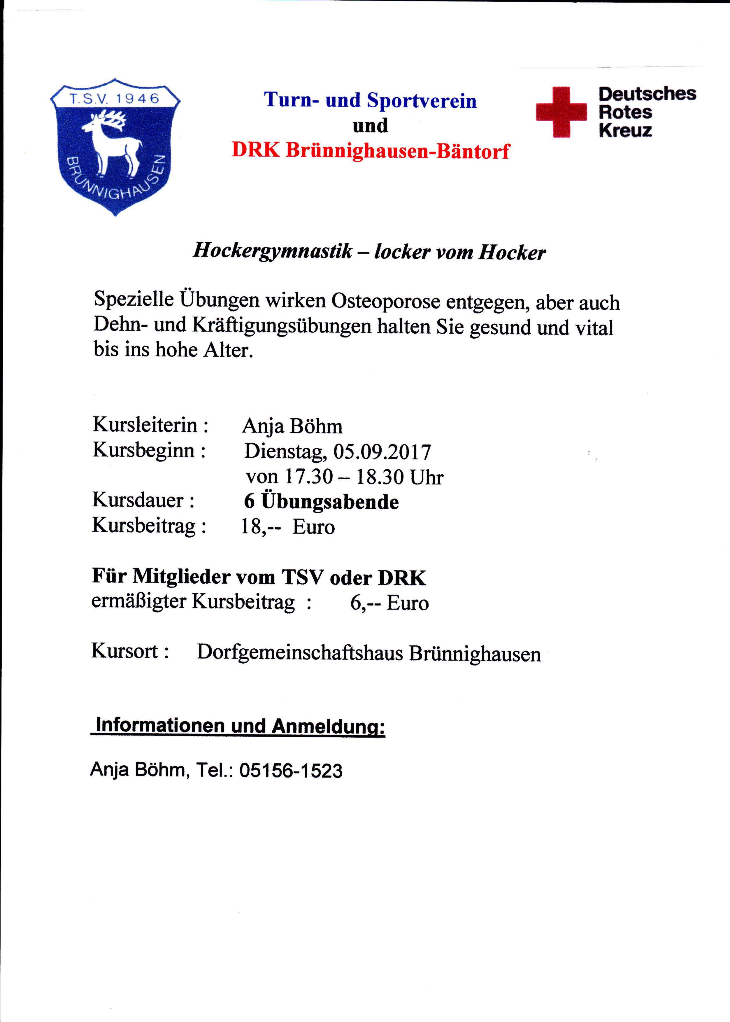 Neu ab 5.9.2017: Locker vom Hocker | TSV Brünnighausen